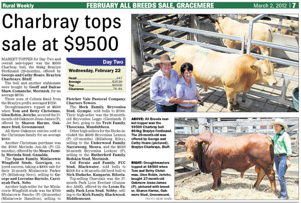 2012 - February All Breeds Sale, Gracemere - Rural Weekly Report